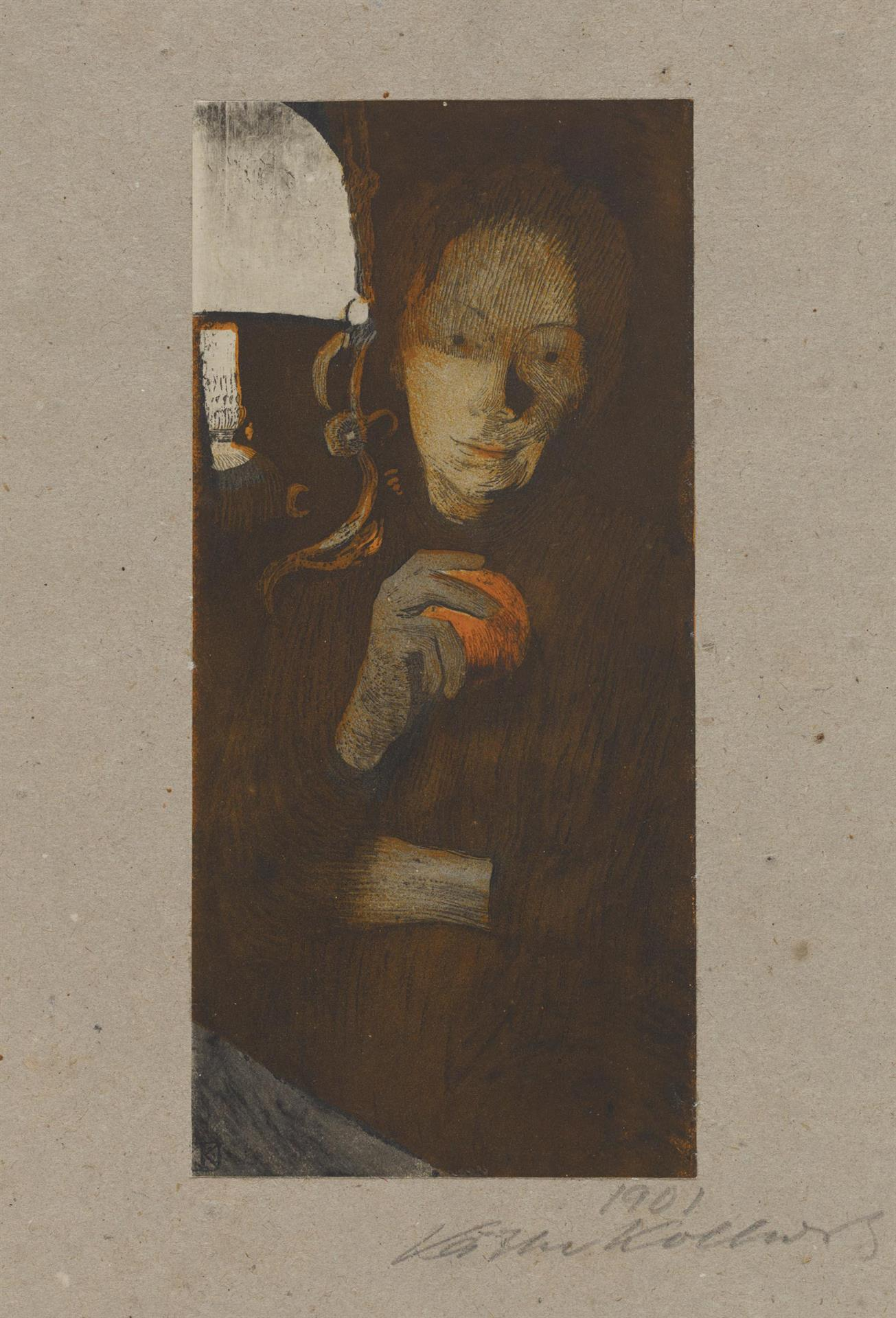 Käthe Kollwitz, Woman with Orange, 1901, brush lithograph with colouring stone in orange, etching (aquatint, reservage and drypoint) slightly edited with charcoal, cream-coloured paper laid on grey, blotter-like paper, Kn 56 II 2, Cologne Kollwitz Collection © Käthe Kollwitz Museum Köln