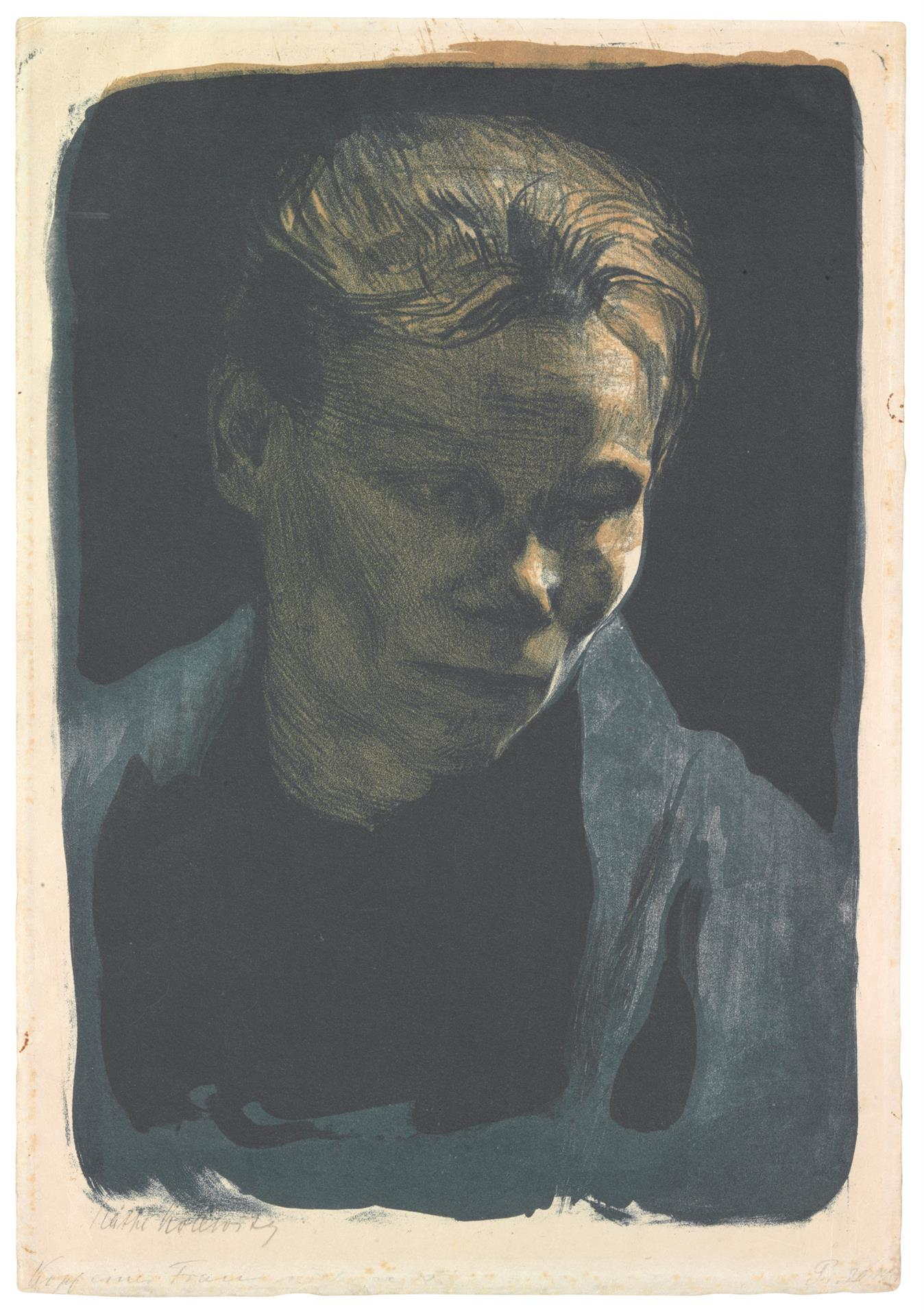 Käthe Kollwitz, Bust of a Worker Woman with Blue Shawl, 1903, crayon and brush lithograph in two colors, with scratch technique in the drawing stone, printed blue, Kn 75 A I 1, Cologne Kollwitz Collection © Käthe Kollwitz Museum Köln