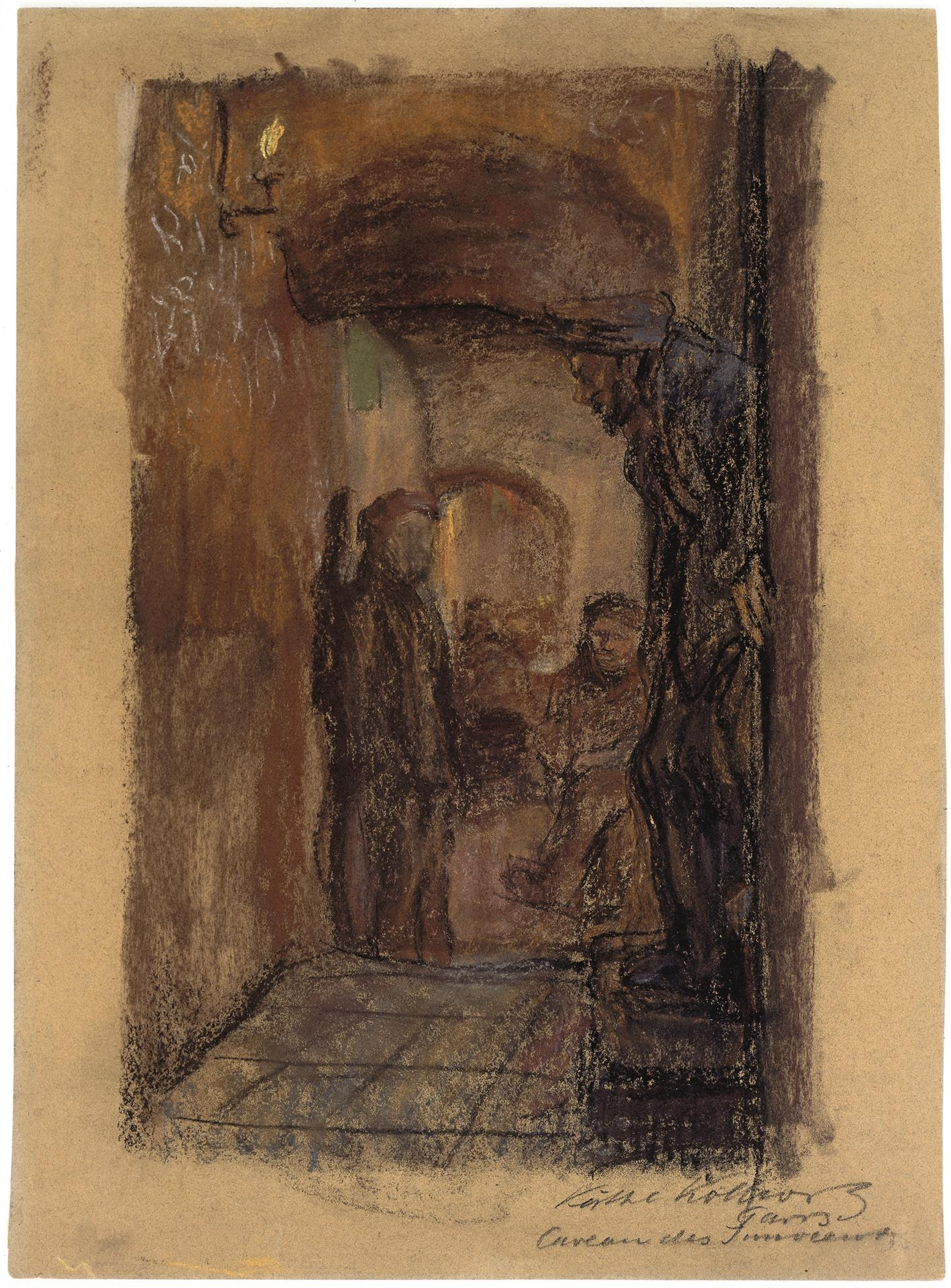 Käthe Kollwitz, Caveau des Innocents, 1904, coloured chalk on brownish drawing cardboard, NT 275, Cologne Kollwitz Collection © Käthe Kollwitz Museum Köln