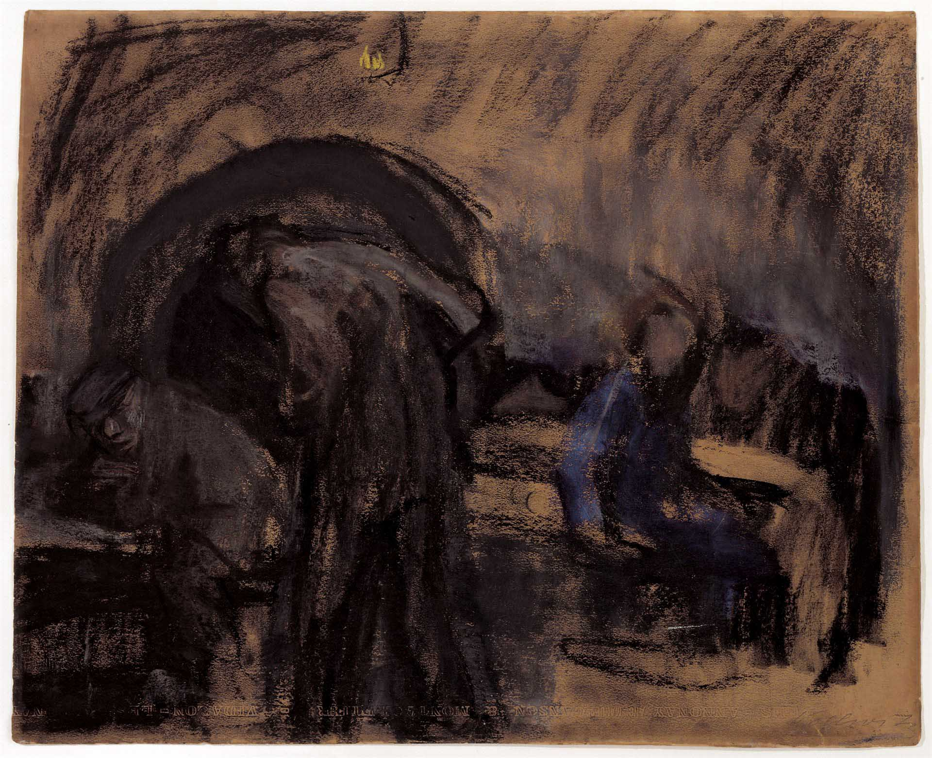 Käthe Kollwitz, Parisian Cellar Tavern, 1904, coloured chalk on ochre-coloured Canson drawing cardboard, NT (277a), Cologne Kollwitz Collection © Käthe Kollwitz Museum Köln