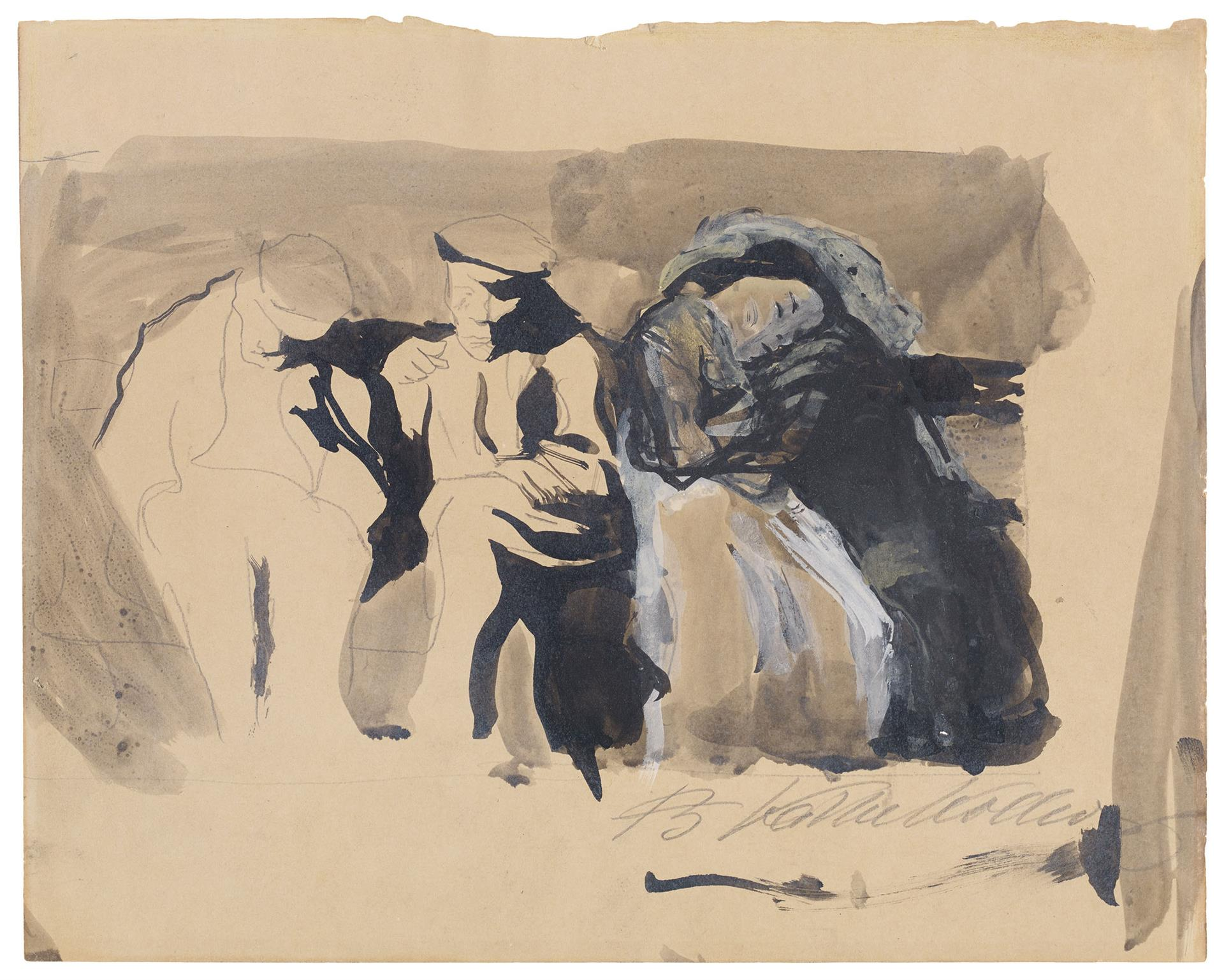 Käthe Kollwitz, Two Men and a Pair of Lovers on a Bench, 1904, graphite and ink, white highlights on cream-coloured paper, NT (287a), Cologne Kollwitz Collection © Käthe Kollwitz Museum Köln