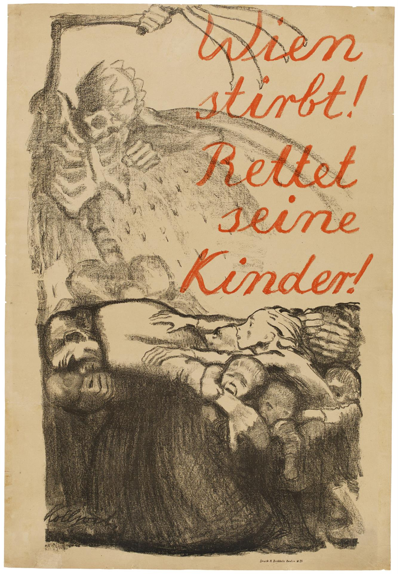 Käthe Kollwitz, Poster »Vienna is dying! Save its Children!«, 1920, crayon lithograph in to two colours (transfer, text on ribbed laid paper), Kn 148 II, Cologne Kollwitz Collection © Käthe Kollwitz Museum Köln