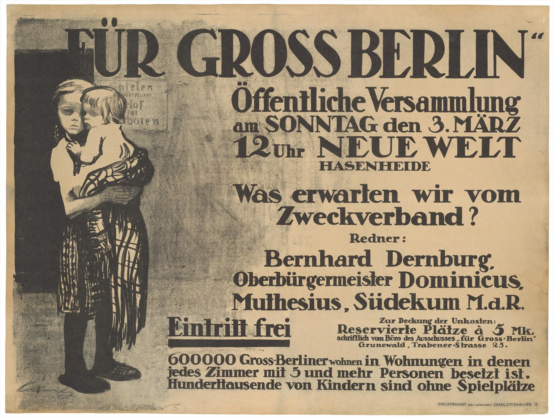 "Käthe Kollwitz, Poster ""For Greater Berlin"", 1912, chalk and brush lithograph (transfer), Kn 122 I, Cologne Kollwitz Collection © Käthe Kollwitz Museum Köln"