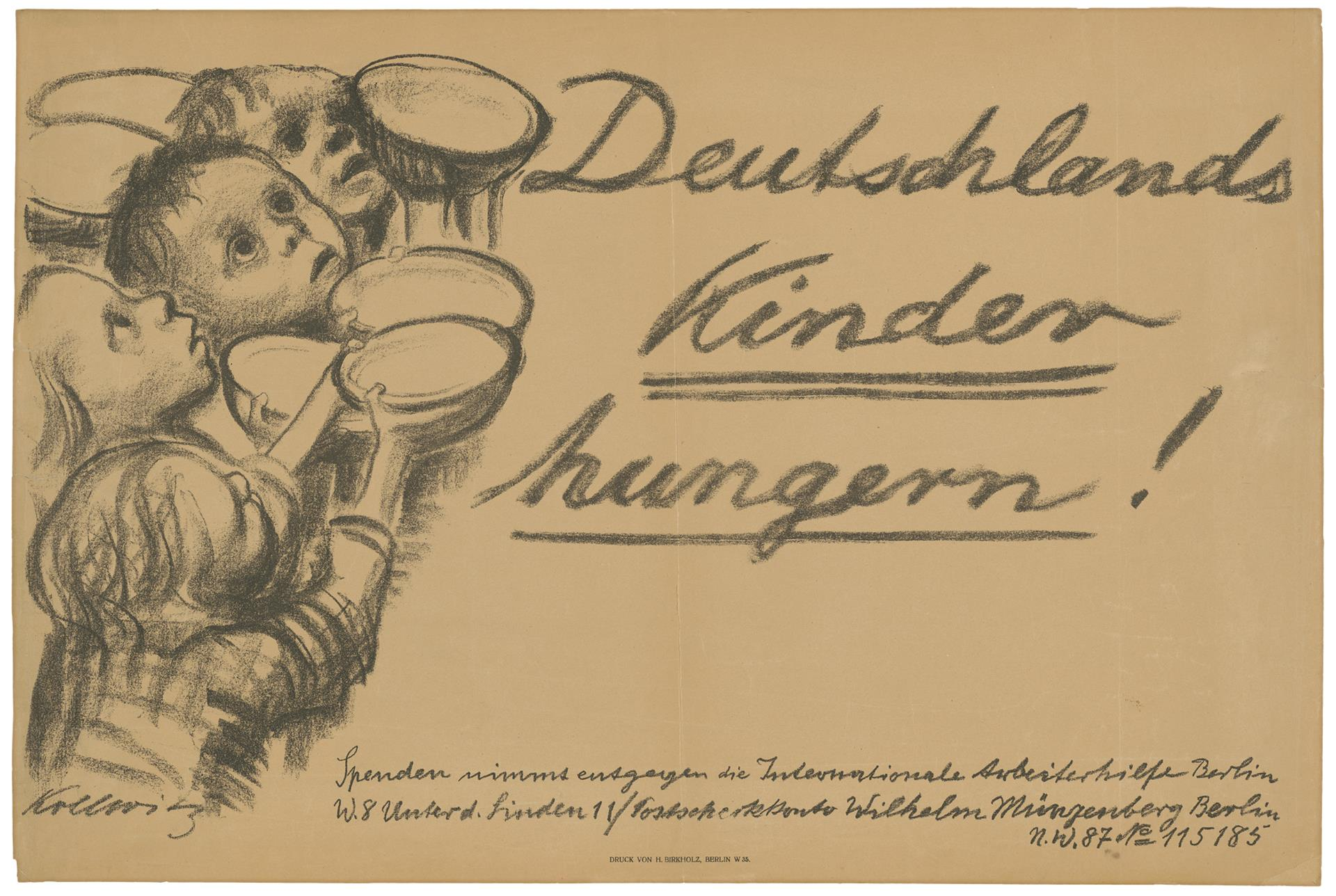 Käthe Kollwitz, Poster »Germany's Children are starving!«, 1923, crayon lithograph (transfer), Kn 202 B, Cologne Kollwitz Collection © Käthe Kollwitz Museum Köln