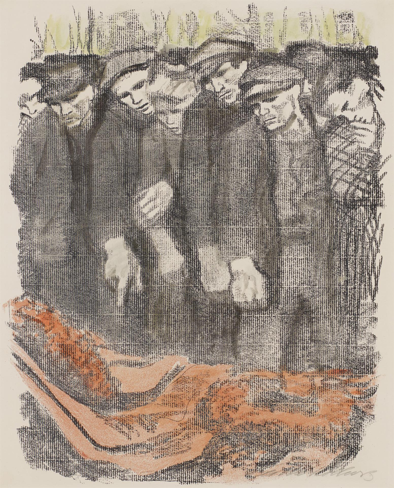 Käthe Kollwitz, March Cemetery, second version, 1913, crayon lithograph in two colors (transfer of an unknown drawing on ribbed laid paper, Kn 128, Cologne Kollwitz Collection © Käthe Kollwitz Museum Köln