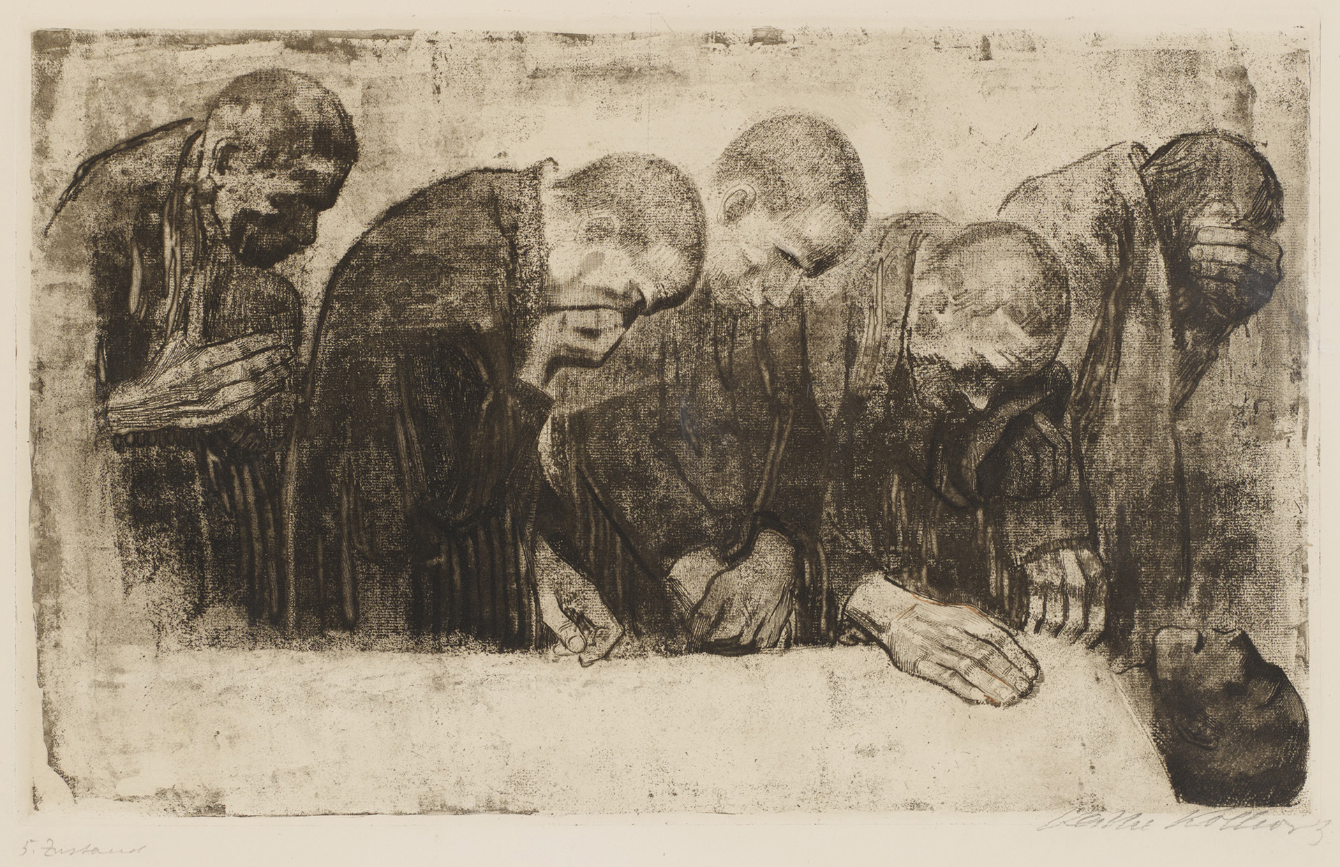 Käthe Kollwitz, In Memoriam Karl Liebknecht, rejected first version, 1919, line etching, aquatint, sandpaper, reservage and soft ground with imprint of laid paper, Kn 145 V, Cologne Kollwitz Collection © Käthe Kollwitz Museum Köln