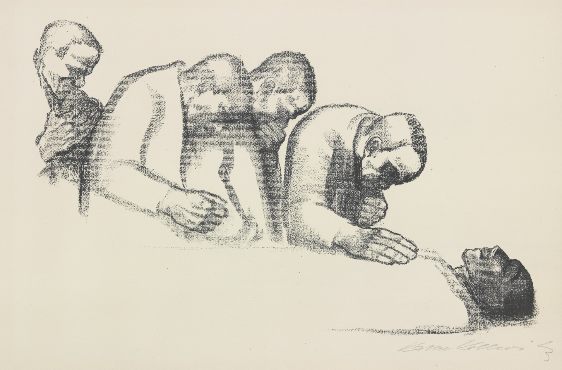 Käthe Kollwitz, In Memoriam Karl Liebknecht, rejected second version, 1919, crayon lithograph (transfer of drawing NT 779 on ribbed laid paper), Kn 146, Cologne Kollwitz Collection © Käthe Kollwitz Museum Köln