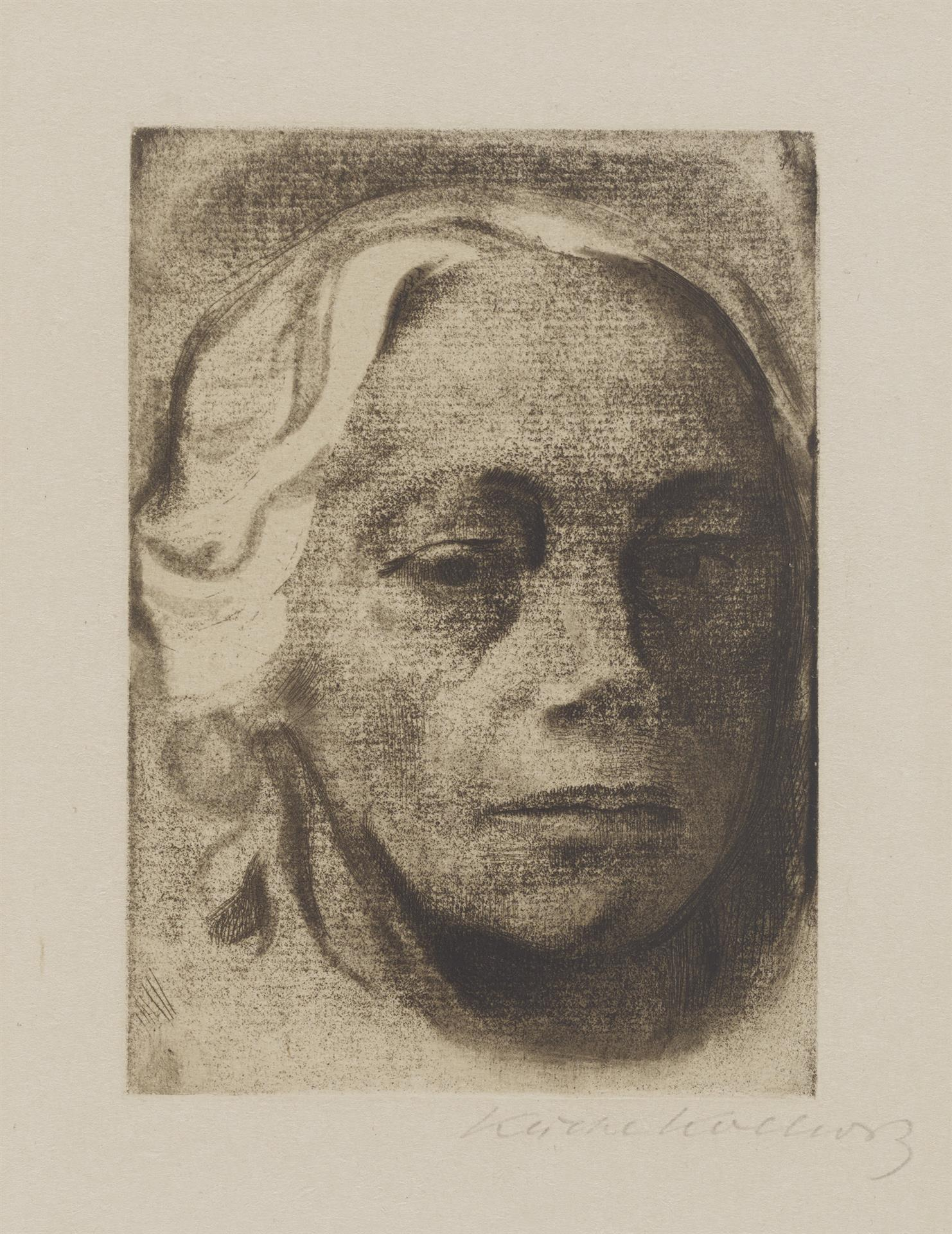 Käthe Kollwitz, Self-portrait, 1912, line etching, drypoint and soft ground with the imprint of laid paper and Ziegler's transfer paper, Kn 126 VII a, Cologne Kollwitz Collection © Käthe Kollwitz Museum Köln