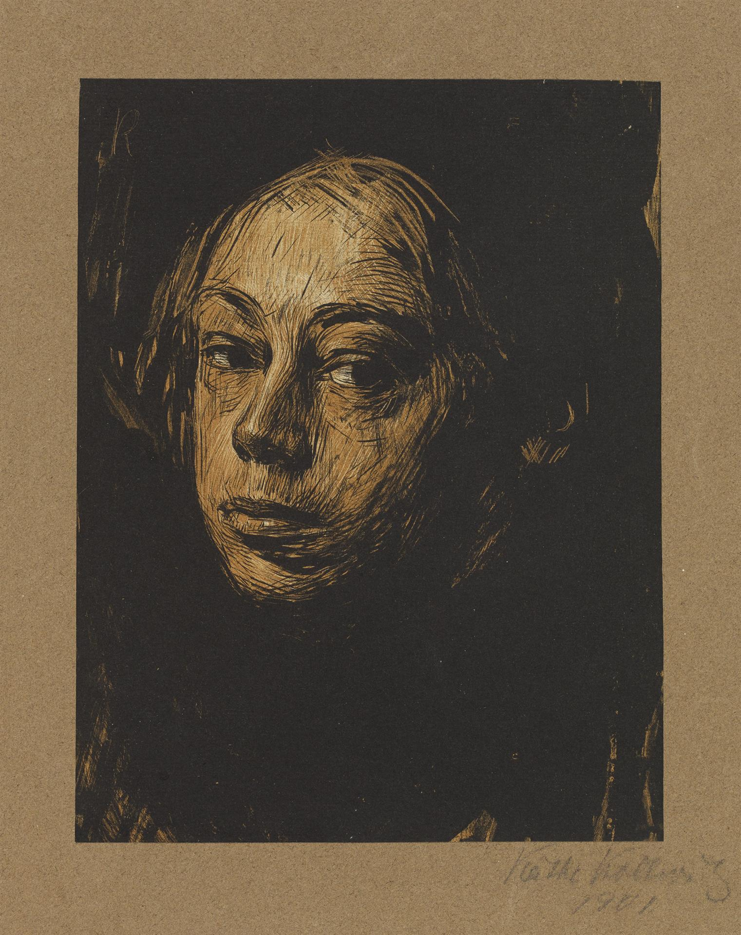 Käthe Kollwitz, Self-portait towards left, 1901, brush and pen lithograph in two colors with scratch technique in the drawing stone and in the tone stone, printed in brown, Kn 52 I, Cologne Kollwitz Collection © Käthe Kollwitz Museum Köln