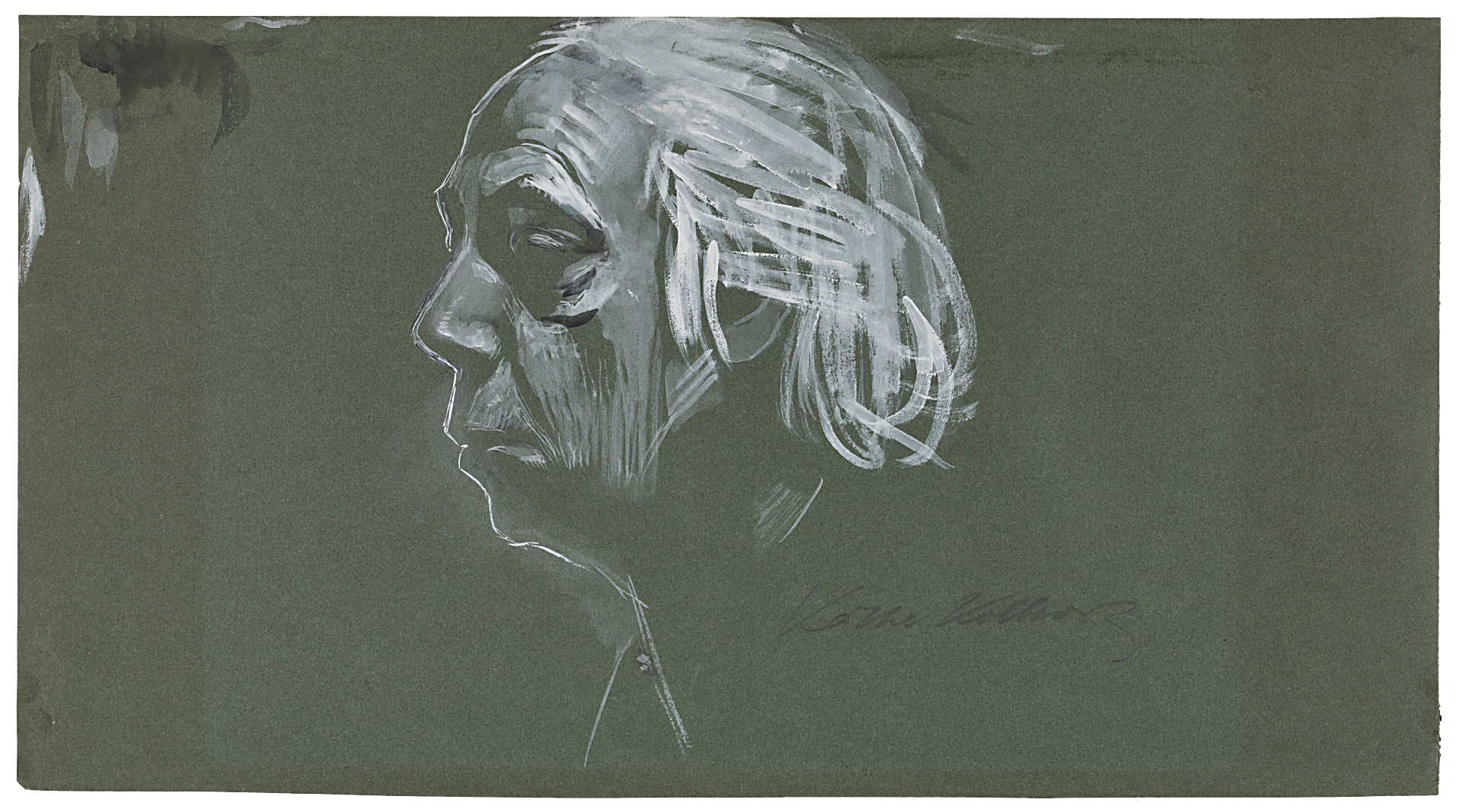 Käthe Kollwitz, Self-portrait in profile, looking left, 1924, brush and opaque white, partly washed in black, on dark-green drawing paper, NT 1001, Cologne Kollwitz Collection © Käthe Kollwitz Museum Köln