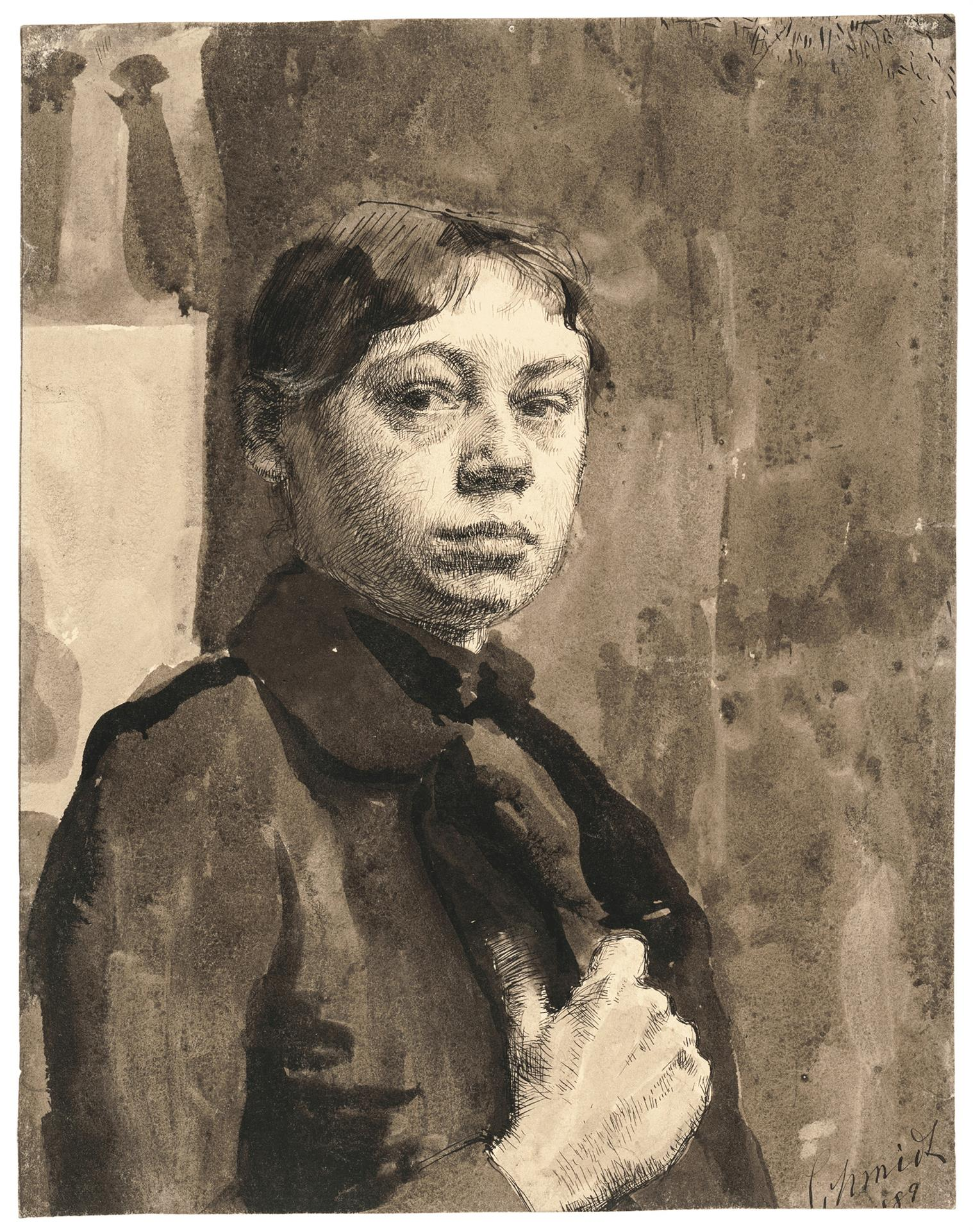 Käthe Kollwitz, Self-portrait, 1899, pen and black ink and brush and sepia on drawing cardboard, NT 12, Cologne Kollwitz Collection © Käthe Kollwitz Museum Köln