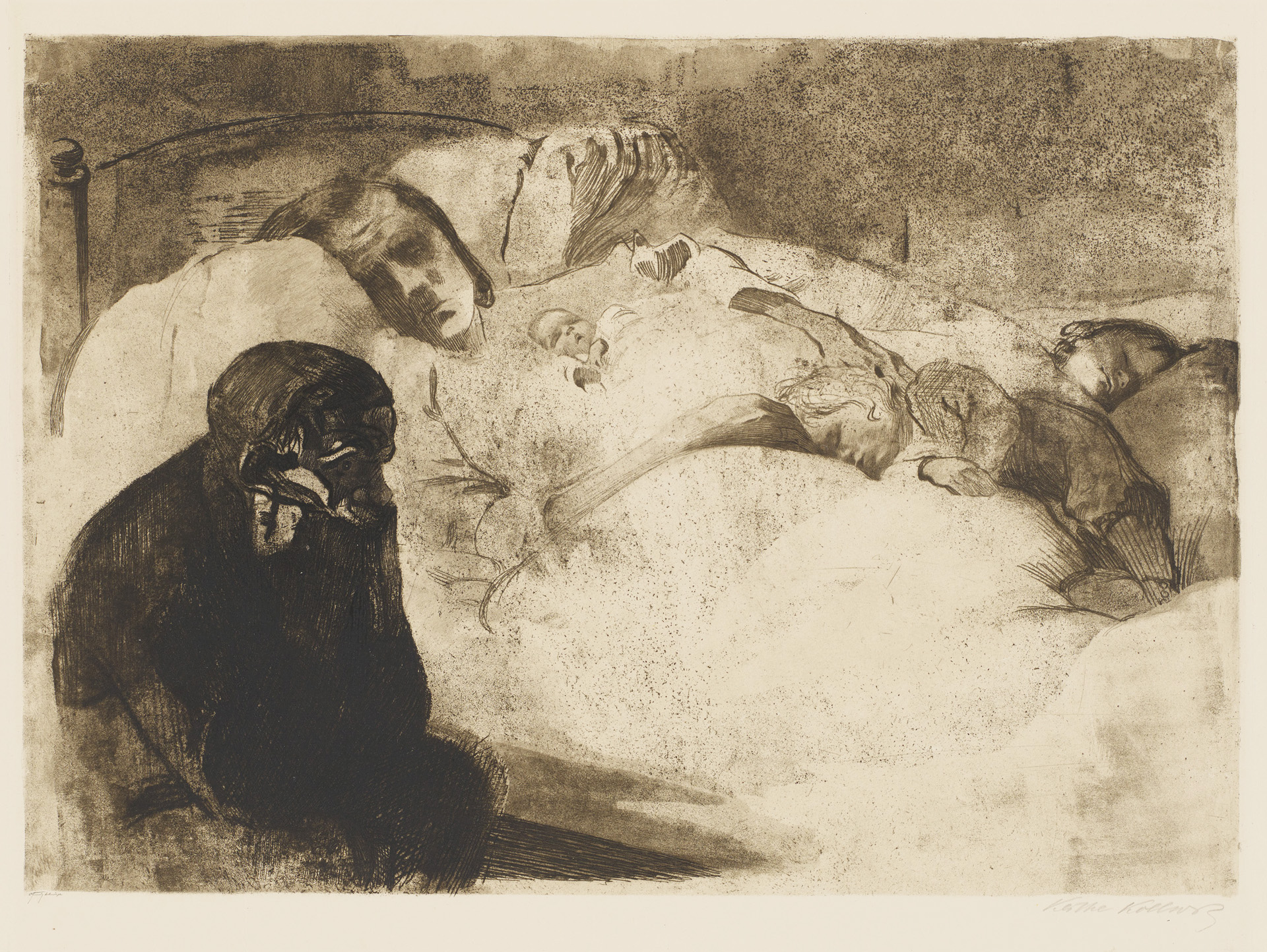 Käthe Kollwitz, Unemployment, 1909, line etching, drypoint, aquatint, sandpaper and soft ground with imprint of Ziegler's transfer paper, Kn 104 VI d, Cologne Kollwitz Collection © Käthe Kollwitz Museum Köln