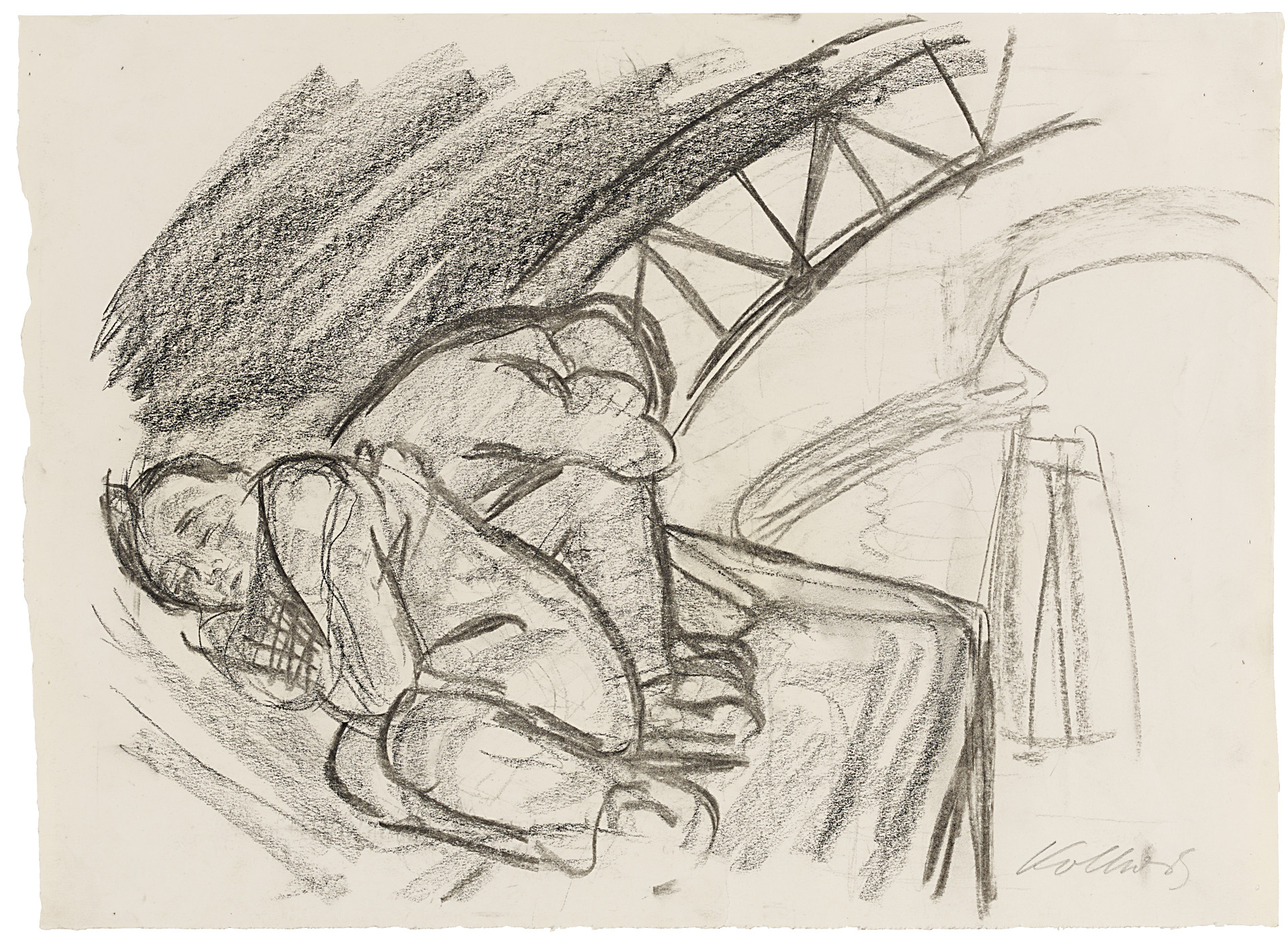 Käthe Kollwitz, Under the Arch of the Bridge, 1928, charcoal and black chalk, blotted, on drawing paper, NT 1161, Cologne Kollwitz Collection © Käthe Kollwitz Museum Köln