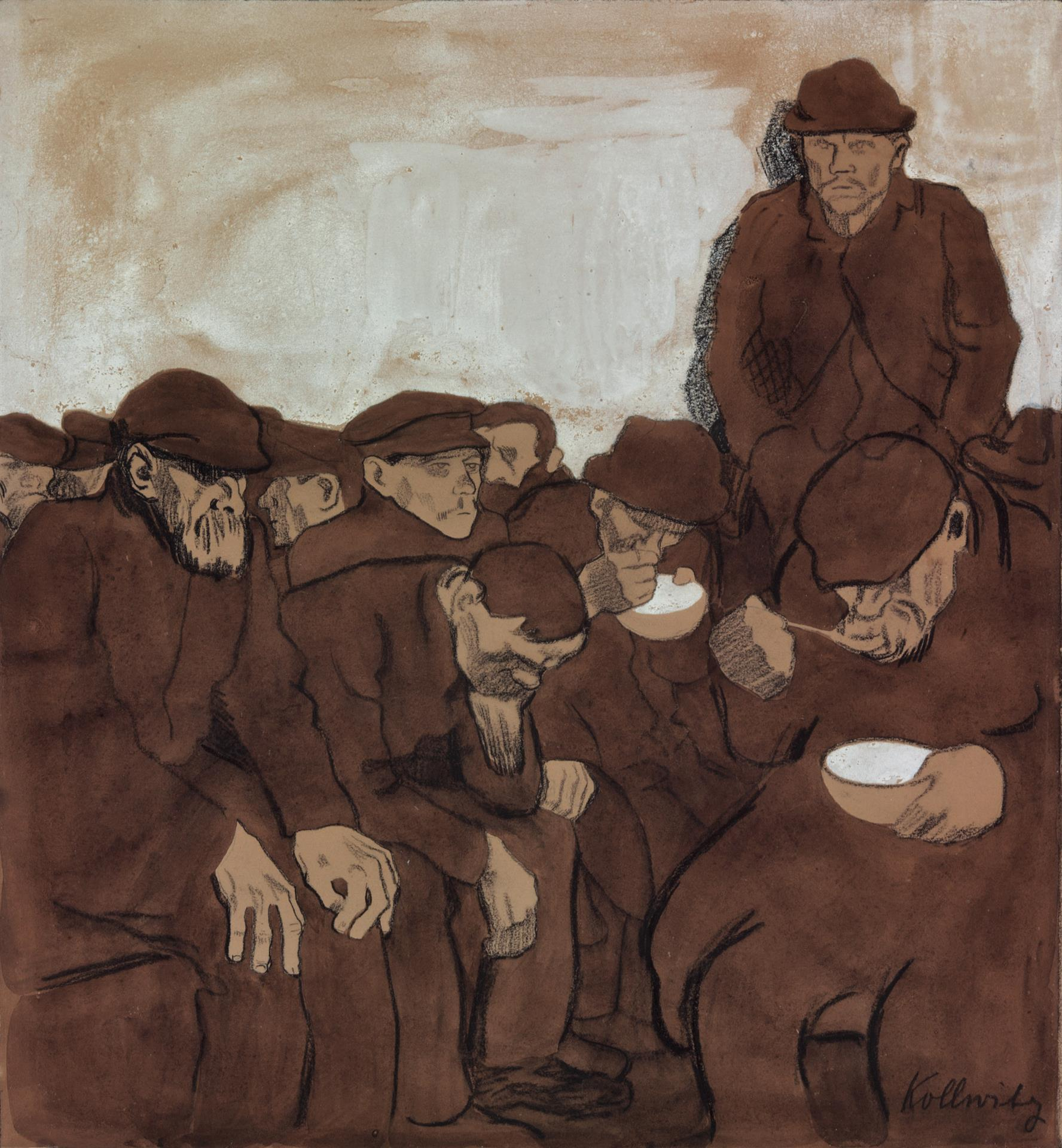 Käthe Kollwitz, Warm Shelter, 1908/1909, black crayon, pen and brush with ink and sepia on olive-green paper, white highlights in the background, NT (469a), Cologne Kollwitz Collection © Käthe Kollwitz Museum Köln