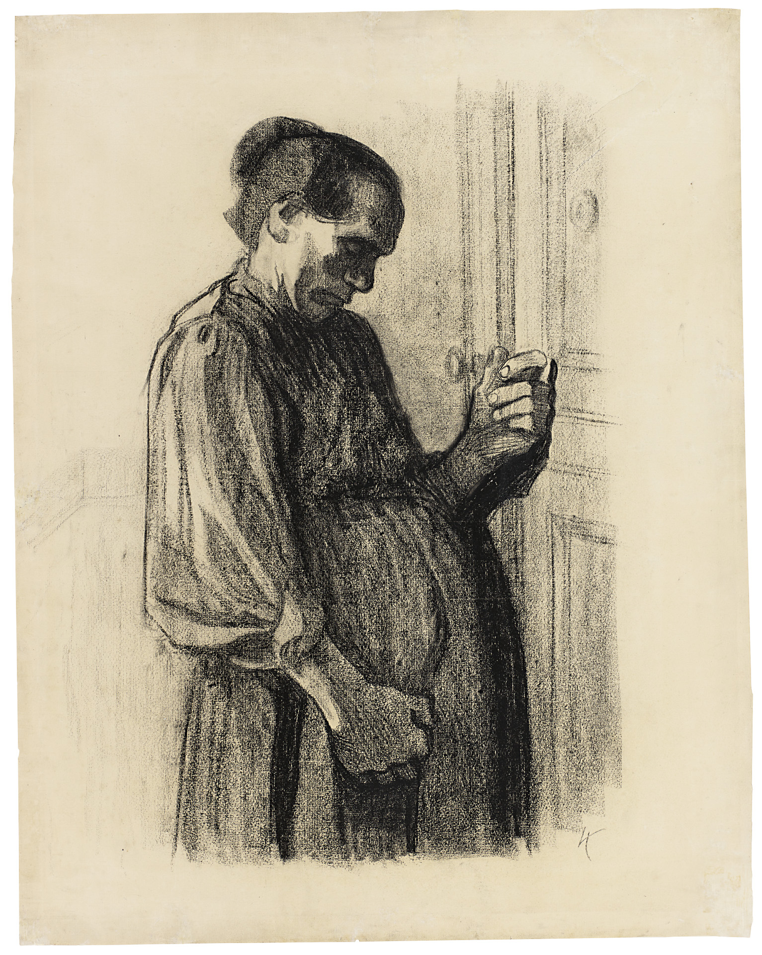 Käthe Kollwitz, At the Doctor's, sheet 3 of the series »Images of Misery«, 1908/1909, black crayon on Ingres paper, NT 475, Cologne Kollwitz Collection © Käthe Kollwitz Museum Köln