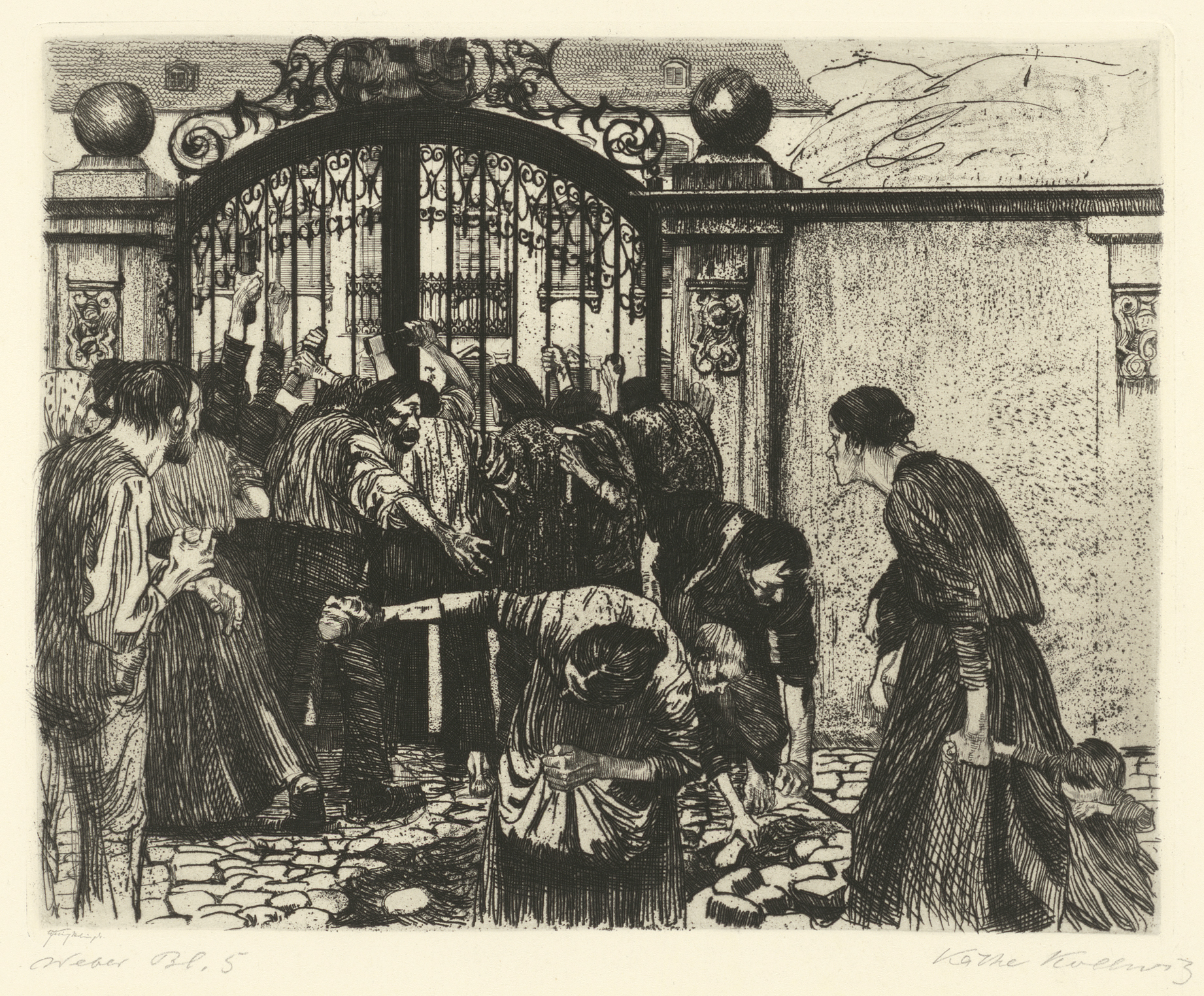 Käthe Kollwitz, Storming the Gate - Attack, sheet 5 of the cycle »A Weavers' Revolt«, 1893-1897, line etching and sandpaper, Kn 37 II a, Cologne Kollwitz Collection © Käthe Kollwitz Museum Köln